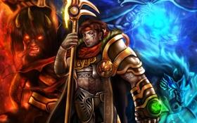 Обои оружие, конь, монстр, воин, тату, фэнтези, арт