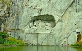 Обои трава, вода, скала, озеро, лев, Switzerland, швейцария
