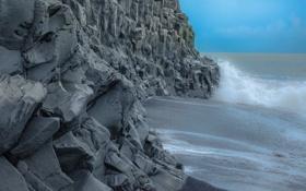Картинка камни, скалы, небо, шторм, волны, море