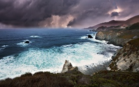 Картинка море, волны, пейзаж, тучи, шторм, природа, скалы