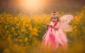 Картинка цветы, бабочка, крылья, девочка