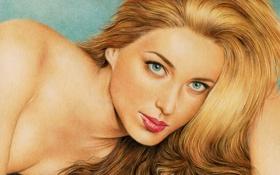 Обои взгляд, девушка, лицо, актриса, блондинка, живопись, Marta Hazas