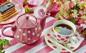 Обои цветы, чай, чайник, торт, посуда