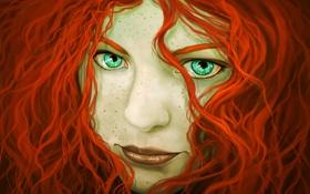 Обои девушка, волосы, лицо, зеленые глаза, рыжая, арт, кудряшки