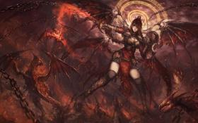 Картинка девушка, поза, фантастика, крылья, меч, арт, щит