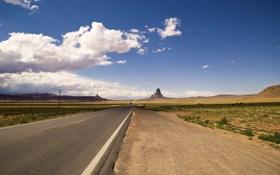 Обои дорога, небо, облака, обои, Пейзаж