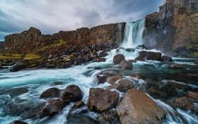 Картинка река, скалы, водопад, поток
