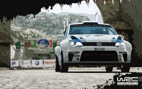 Обои Авто, Игра, Белый, Volkswagen, Rally, Polo, WRC 3