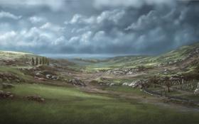 Картинка кладбище, камни, долина, пейзаж, холмы, озеро, крест