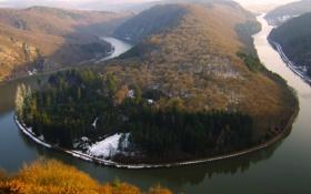 Картинка снег, река, изгиб, германия, европа, саар, метлах