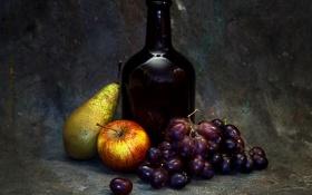 Обои фото, бутылка, яблоко, стилизация, виноград, груша, натюрморт
