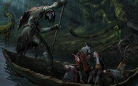 Картинка лес, река, люди, лодка, монстр, собака, чаща