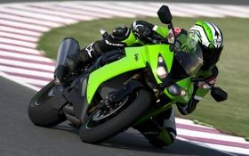 Обои обои, гонщик, мотоцикл, Ninja, kawasaki, zx 10r