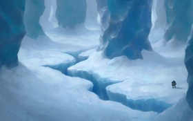 Обои лед, разлом, снег, странник, Пещера
