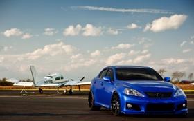 Картинка небо, облака, синий, Lexus, IS-F, самолёт, blue