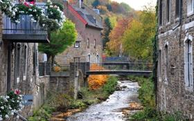 Картинка город, река, дома, фото, Штольберг, Германия