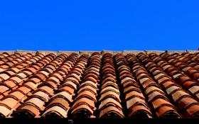Обои крыша, небо, дом, черепица, кровля