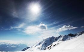 Обои солнце, Winter Landscape, яркое, ветер, зима, холод, горы
