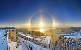 Обои зима, солнце, halo