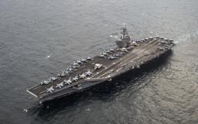 Обои ночь, оружие, корабль, Aircraft carrier USS Carl Vinson (CVN 70)