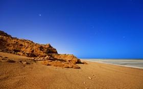 Картинка море, небо, звезды, ночь, скала, океан, берег