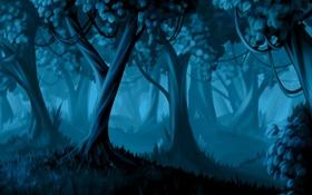 Картинка лес, трава, деревья, ночь, арт, кусты, лианы