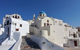Обои небо, дома, Санторини, Греция, остров Тира