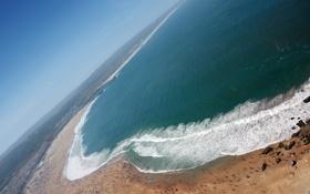 Картинка песок, море, пляж, небо, люди, горизонт, Побережье