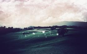 Обои пейзаж, фото, холмы, поле, обои, деревья, обработка