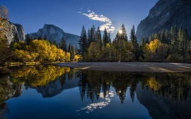 Картинка trees, sunset, Yosemite, autumn, mountains, pond