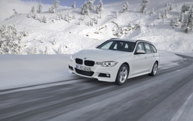 Обои Зима, Белый, Снег, BMW, Передок, Универсал, 320d