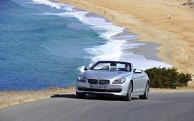 Обои Море, Авто, Дорога, BMW, Кабриолет, Серый, Побережье