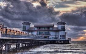 Картинка море, закат, мост, Weston-Super-Mare Pier in HDR