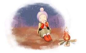 Обои зима, снег, уют, тепло, чай, рисунок, девочка