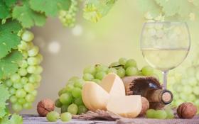 Картинка листья, стол, вино, белое, бокал, бутылка, сыр