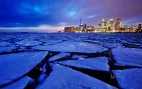 Обои гавань, пейзаж, Ontario, Канада, небо, облака, ночь
