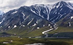 Обои зелень, снег, горы, природа, гряда