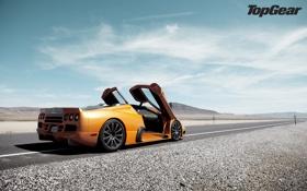 Обои дорога, небо, суперкар, supercar, вид сзади, top gear, самая лучшая телепередача