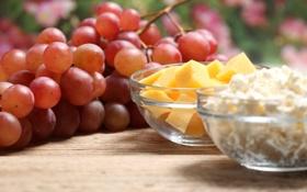 Картинка сыр, виноград, гроздь, ломтики, творог
