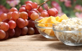 Обои сыр, виноград, гроздь, ломтики, творог