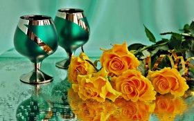 Картинка зеленый, розы, бокалы