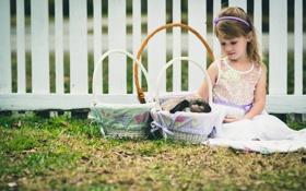 Картинка трава, ребенок, кролик, девочка, корзинки