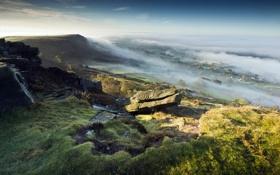 Картинка пейзаж, туман, гора