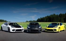Обои Turbo, Porsche, three, cars, Panamera, tuning, mix