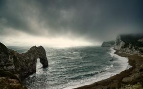 Обои море, небо, скала, скалы, арка