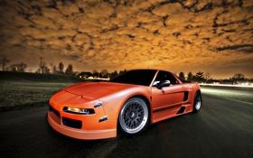 Картинка облака, закат, оранжевая, Honda, хонда, orange, акура