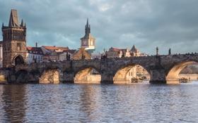 Картинка небо, дома, Чехия, Карлов мост, башня, Прага