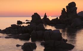 Обои море, закат, скалы, морской пейзаж, Сардиния