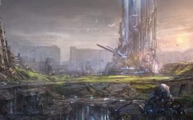 Обои город, роботы, арт, руины, мегаполис