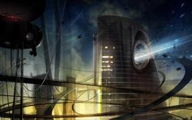 Обои небо, город, будущее, дороги, корабли, труба, выброс